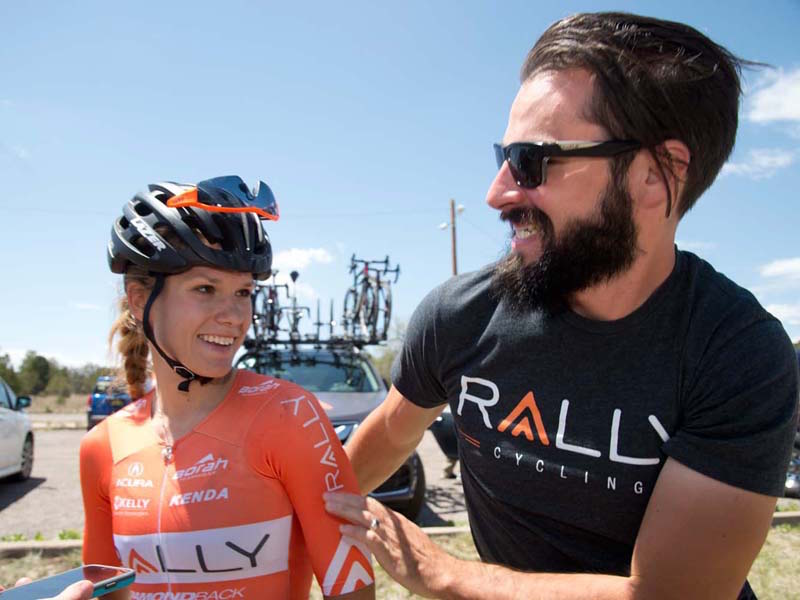 Jasmin Glaesser at her day job racing for Rally Cycling, with team director Zach Bell, who is also a former Olympian.