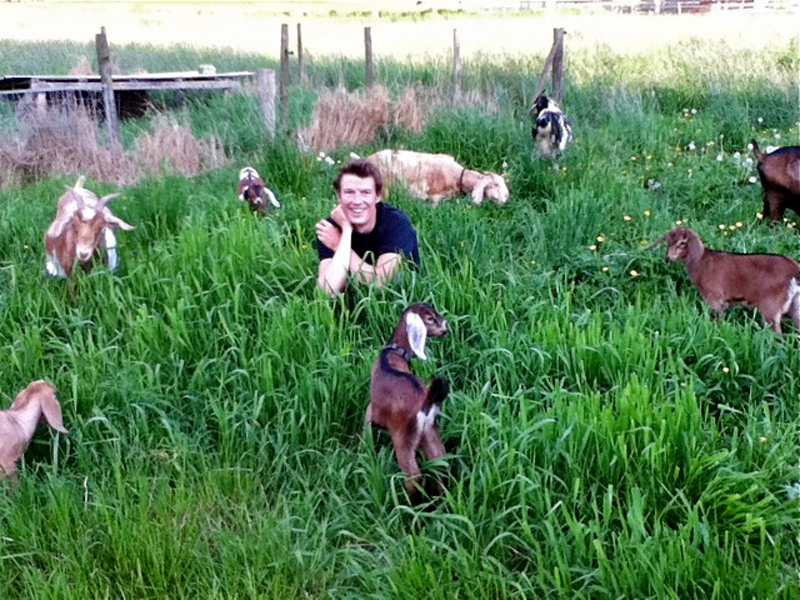 Routley at Shabby Farm with his goats.
